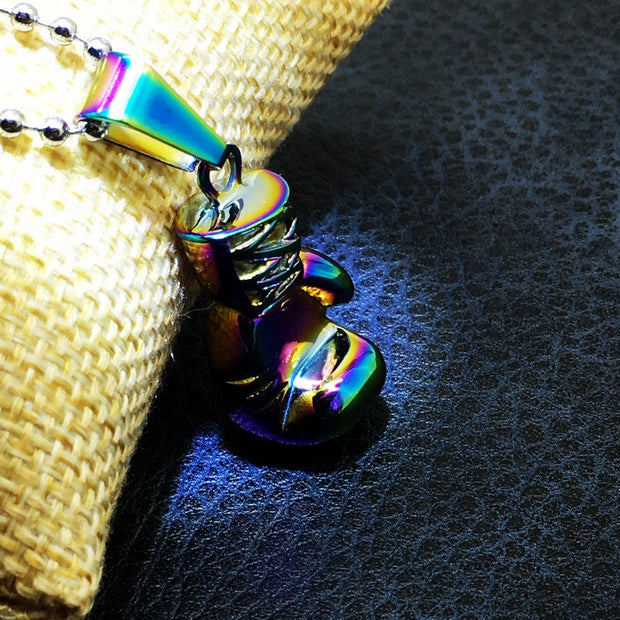 Rainbow Fist Pendant Necklace Fine Jewelry Boxing Glove Stainless Steel Cool Pendulum Boxing Match Jewelry For Men JT-020-1
