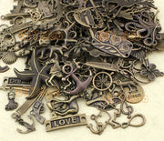 Random Mix Styles Charms, Antique Bronze Miscellaneous Charm Pendants, Jewelry Making