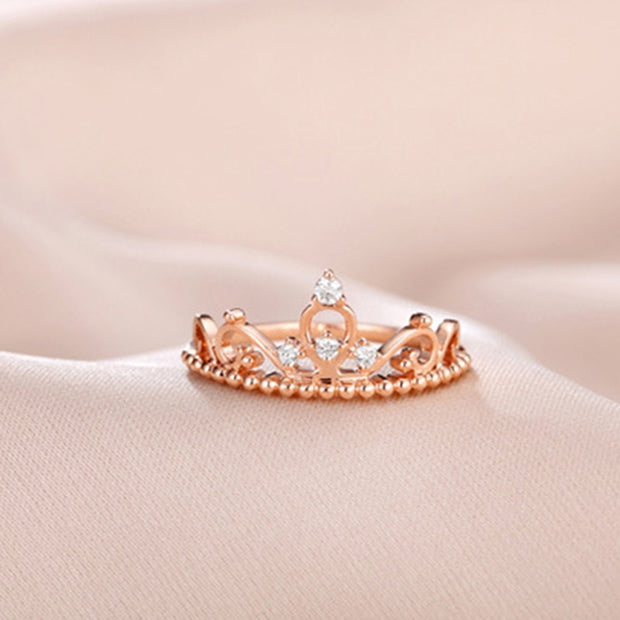 Real 925 Sterling Silver Dazzling AAA CZ Zircon Princess Crown Female Ring For Women Wedding Engagement Jewelry