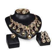 Retro Necklace Earrings Bracelet Ring Sets Jewelry Set Elegant Women Valentine Day Gift CX17