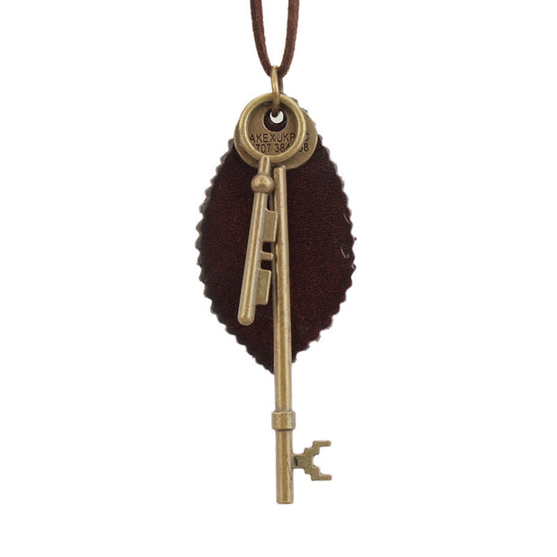 Retro Style Necklace Leather Leaf Key Sweater Chain Wood Alloy Leaf Sweater Chain Necklaces & Pendants