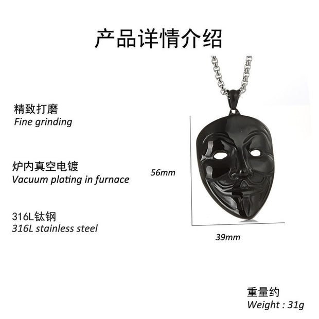 Retro V For Vendetta Hacker Mask Face Stainless Steel Pendant Necklacee For Men Women Movie Jewelry