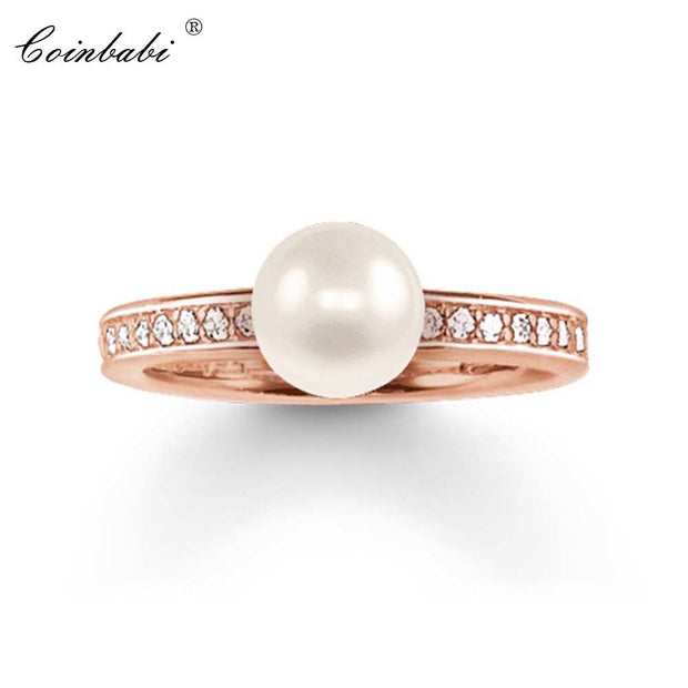 Rings Pearl Rose Gold Color Gift Fot Women Rings Classic Thomas Style Glam Jewelry ETERNITY Rings TS Jewelry Wholesale