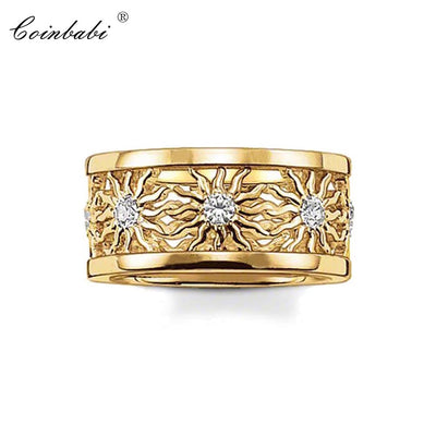 Rings Yellow Sun Gold-color Cute Gift For Women, Thomas Style Glam Fashion Eternity Rings TS Fashion Jewelry Wholesale