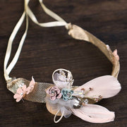Romantic Crystal Flower Girls Princess Hairband Headband With Ribbon Rhinestone Yarn Head Piece Hair Band Hair Accessories SL
