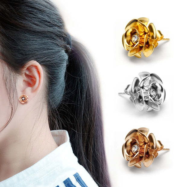 Rose Gold Color Elegant Crystal Woman Stainless Steel Fashion Jewelry Earrings With Flower Earrings Top Quality Earrings