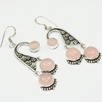 Rose Quarts , 71 Mm, Silver Overlay On Copper Earrings, E1714