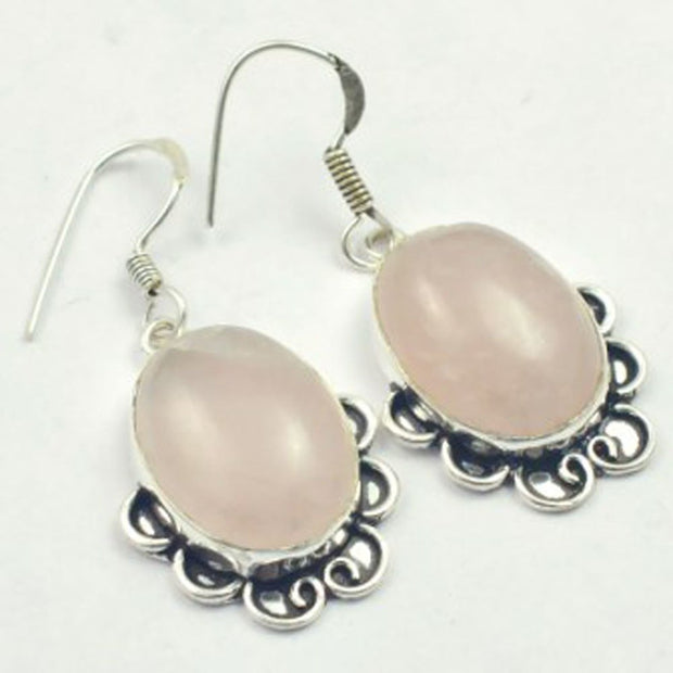 Rose Quarts Earrings Silver Overlay Over Copper, USA Size 45mm , E3245