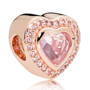 Rose Sparkling Bonds Of Love Heraldic Radiance Floral Love You Lock Beads Fit Pandora Bracelet 925 Sterling Silver Charm Jewelry