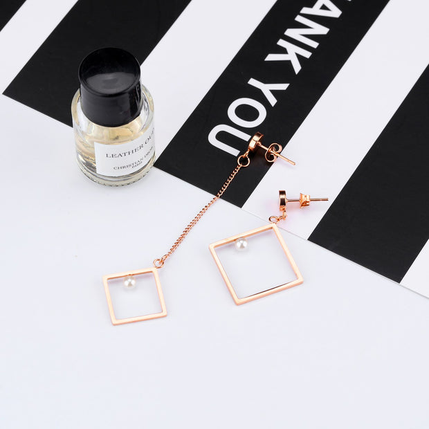 Rose Gold Geometric Drop Earrings For Women Pearl Elegant Fashion Jewelry Stainless Steel Trendy Gift Asymmetric Earrings