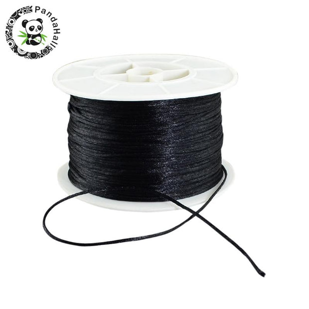 Round Nylon Thread, For Chinese Knot Making, Black, 1mm; 100yards/roll