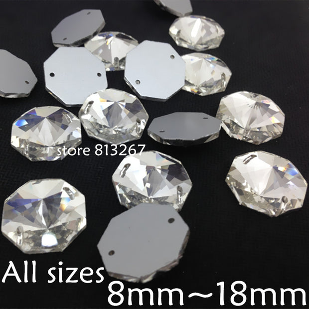 Round Octagon Sew On Stone ,Crystal Clear Color Flatback 2holes 8mm,10mm,12mm,14mm,16mm,18mm Sewing Glass Bead