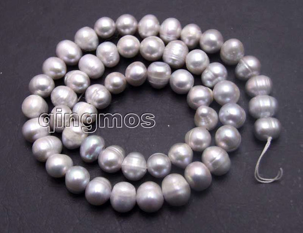 "SALE 7-8mm Natural Gray Freshwater Pearl Loose Beads 14""-los649 Wholesale/retail Free Shipping"