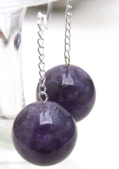 SALE Big 16mm Round Shape Natural Purple Amethysts Beads Earring S925-ear273 Wholesale/retail Free Shipping