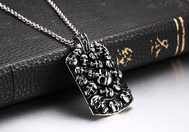 SANDEI Jewelry Necklaces For Men Women Stainless Steel Punk Rock Skull Pendants Necklace