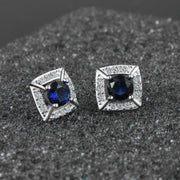 SANTIYAGO 2018 New Fashion Square Design Real 925 Silver Material Stud Earring For Teen Girls With Zircon DIY SANS925E013-016