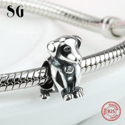SG Cute Animal Diy Oxidation Dog Beads 925 Sterling Silver Charms Fit Authentic European Charms Bracelet Diy Jewelry Making Gift