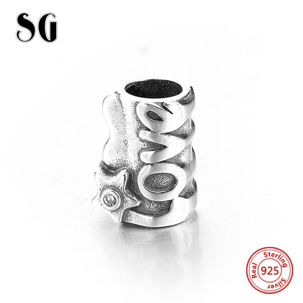 SG New Design Charms Stamped LOVE 925 Sterling Silver Beads Fit Original European Bracelets Pendant Jewelry Accessories Making