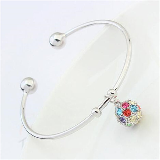 SHDEDE Austrian Crystal Pendants Bracelets Bangles Brand For Women Bead Charms Cuff Open Female Birthday Gift -24449