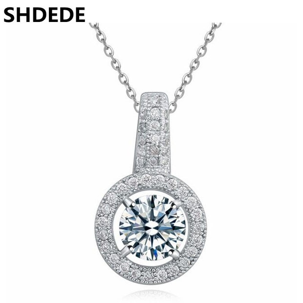 SHDEDE Clear Cubic Zirconia Chain Necklaces Pendants Women High Quality Famous Brand Jewelry Valentine's Day Gift -17603