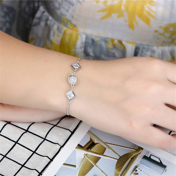 SHDEDE Fashion Clear Cubic Zirconia Charm Tennis Bracelets For Women Lady Bridal Wedding Jewelry -29147