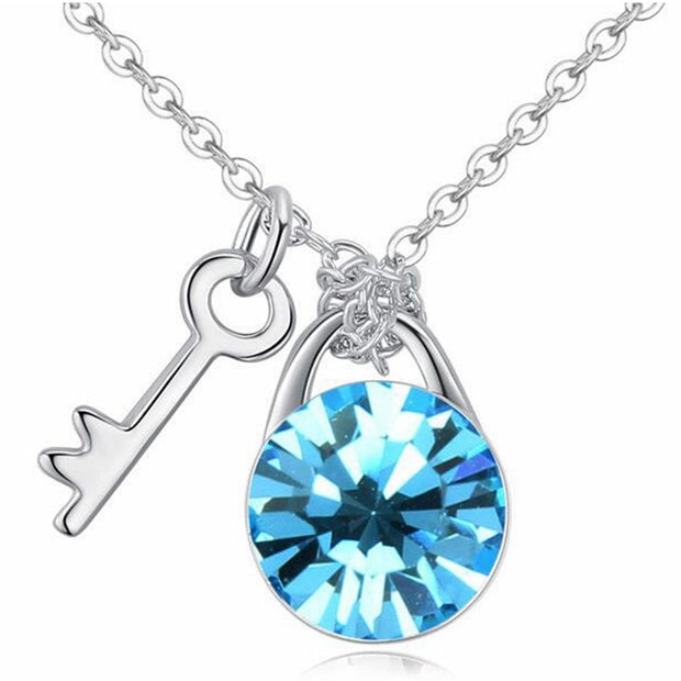 SHDEDE Fashion Jewelry Crystal From Swarovski Short Choker Necklace Pendant For Women Key And Lock Party Accessories -24777