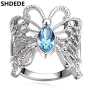 SHDEDE Korea Trendy Jewelry Crystal From Swarovski Engagement Rings For Women High Quality Accessories -16983
