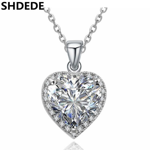SHDEDE Luxury Cubic Zirconia Heart Pendant Necklace Red CZ Crystal Jewelry Women Female Ladies Fashion Accessories -17608