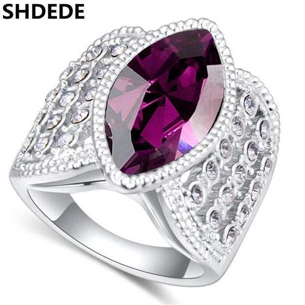 SHDEDE Trendy Jewelry Glass Finger Rings Womens Wedding And Engagement Fashion Accessories -22340