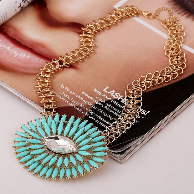 SHUANGR New Acrylic Blue Eye Charm Pendant Choker Bib Necklace With Golden Chain For Women Statement Vintage Floral Jewelry 2017