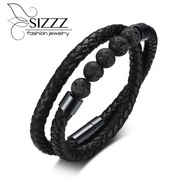 SIZZZ Stainless Steel Stone Microfiber Leather Double Round Hand Rope Black Bracelets&bangles For Men