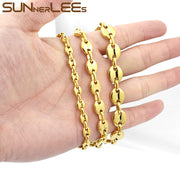 SUNNERLEES Fashion Jewelry 316L Stainless Steel Bracelet 5~11mm Coffee Beans Link Chain Men Women Gift SC13 B