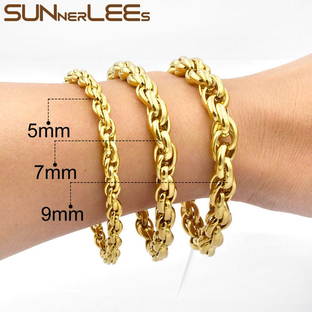 SUNNERLEES Fashion Jewelry 316L Stainless Steel Bracelet Gold Color 5mm~11mm Oval Rope Twisted Link Chain For Mens Womens SC31 B