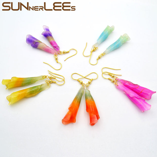SUNNERLEES Fashion Jewelry Drop Earrings Gold Color Lucky Beads Resin Flower Dangles For Women Girl Gift RE01