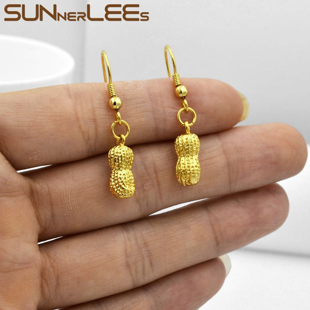 SUNNERLEES Fashion Jewelry Gold-Color Drop Earrings Delicate Peanut Dangles For Womens Girls P06 YE