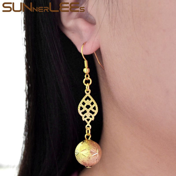 SUNNERLEES Fashion Jewelry Gold-Color Drop Earrings Lucky Beads Dangles For Womens Girls Gift E10 Y