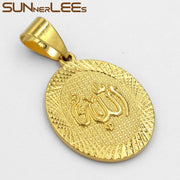 SUNNERLEES Fashion Jewelry Gold-Color Pendant Necklace Islamic Allah Round Vintage Design Muslim Medal Round Mens Womens P10 Y