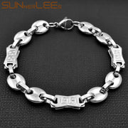 SUNNERLEES Fashion Jewelry Stainless Steel Bracelet 10mm Geometric Coffee Beans Link Chain Silver For Men Women SC61 B