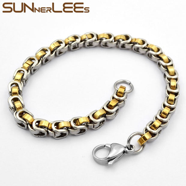 SUNNERLEES Fashion Jewelry Stainless Steel Bracelet 5.5mm Geometric Byzantine Link Chain Silver Gold Black For Men Women SC119 B