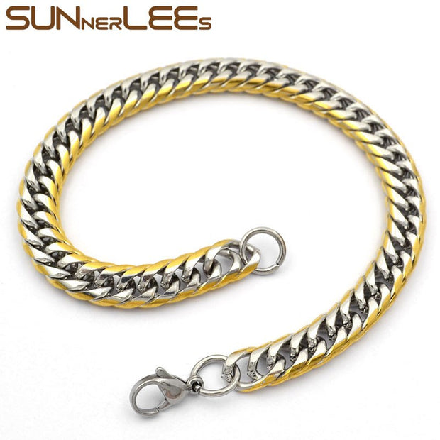 SUNNERLEES Fashion Jewelry Stainless Steel Bracelet 7mm Double Curb Link Chain For Mens Womens Gift SC49 B