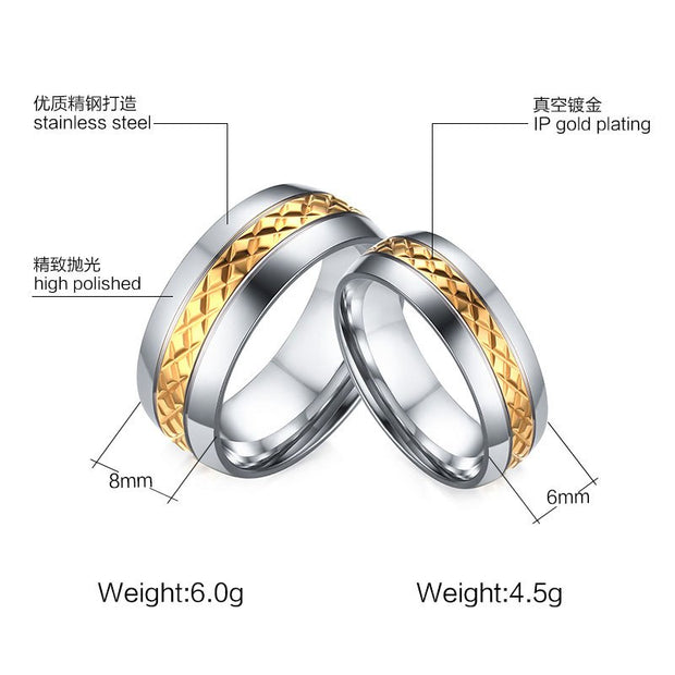 SUNNERLEES Fashion Jewelry Titanium Stainless Steel Couple Rings Silver Gold Rhombus Surface Ring Men Women Lover CR-007