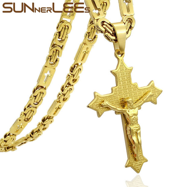 SUNNERLEES Stainless Steel Jesus Christ Cross Pendant Necklace Byzantine Link Chain Silver Gold Men GI SP212