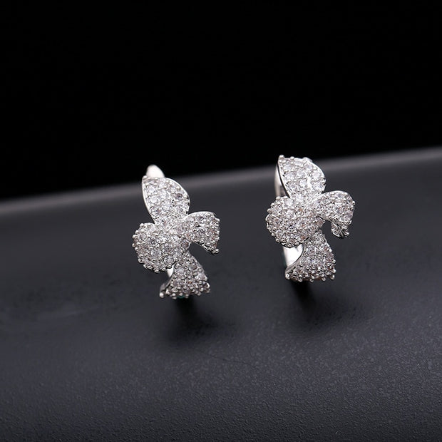 SWOUR New Jewelry Cubic Zircon CZ Ear Cuff Flower Bowknot Design Boucle D'Oreille Earrings For Woman S200