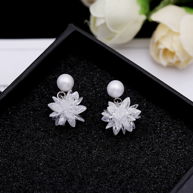 SWOUR New Jewelry S925 Sterling Silver Earrings Cubic Zircon CZ Ice Cream Snowflake Design Pearl Stud Earrings S145