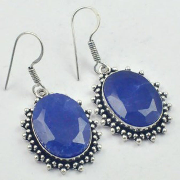 Sapphires Earrings Silver Overlay Over Copper, USA Size 49mm , E3457