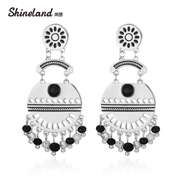 Shineland New Bohemian 3 Colors Ethnic Big Round Carved Hollow Beads Pendant Dangle Enamel Drop Earrings For Women Party Jewelry