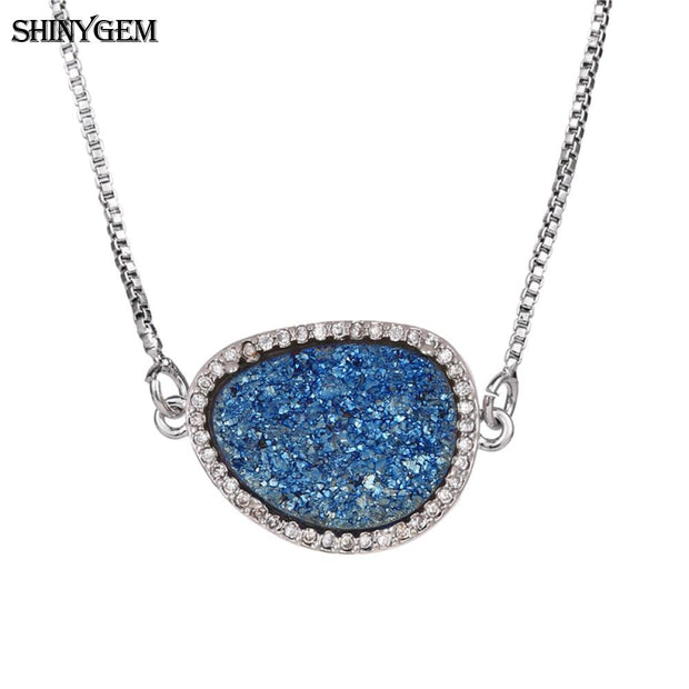 ShinyGem Fashion Irregular Crystal Necklace High Quality Silver Pendant Necklace Natural Druzy Crystal Necklace For Women Female