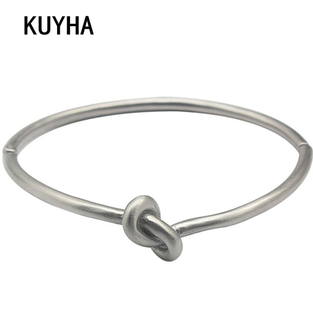 Silver European Knot Bangle & Bracelet Fashion For Women Men Trendy Simple Style Jewelry Pulseiras