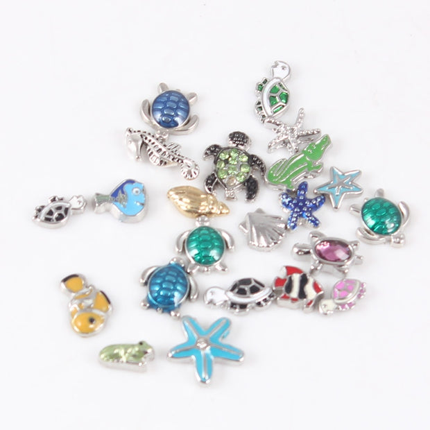 Silver Metal Marine Life Floating Charms For Floating Locket Pendant 20pcs