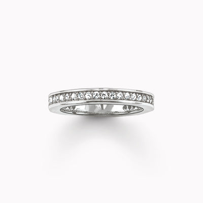 Silver Plated Eternity Rings, The Midi Ring With Dazzling Zirconia, Most Fashion Glam Ring Jewelry Romantic Gift For Women Men